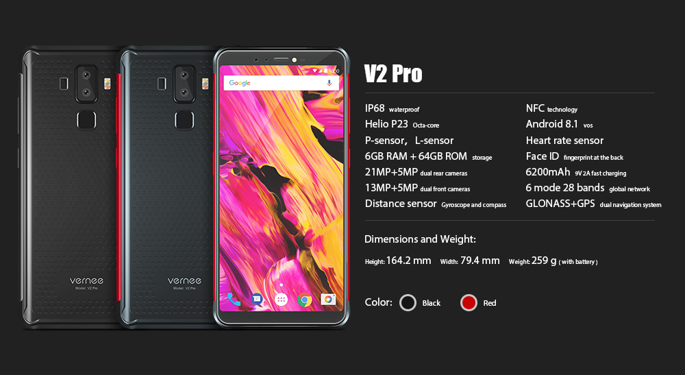 """Vernee V2 Pro IP68 Waterproof Smartphone 5.99"""" FHD Face ID Global Network 6GB 64GB Four Cam NFC 6200mAh Android 8.1 Mobile Phone"""