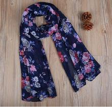 2017 wholesale Women's printe floral summer muffler viscose shawls hijab long wrap muslim 6 color scarves/scarf 180*90cm(China)