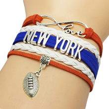 Infinity Love New York Baseball Team Bracelets Leather Suede Rope Charm Customize Friendship Wristband Women Bangle