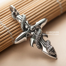 Black silver jewelry wholesale 925 sterling silver jewelry silver Thailand import snake Cross Pendant man 038756