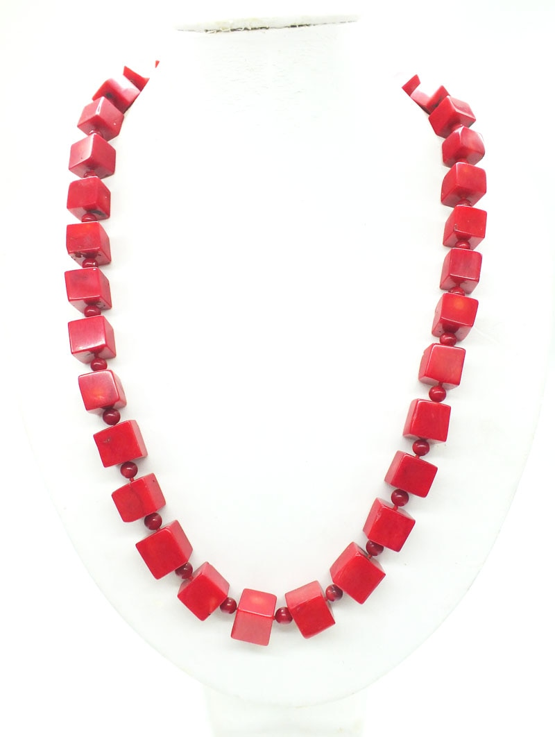 14MM huge, square, natural red coral necklace, classic ladies, bridal necklace (last) 24""
