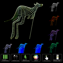 3D Lamp 7 Color kangaroo Led Night Lamps for Kids Touch USB Led Table Lampara Lampe Baby Sleeping Nightlight Remote Control Lamp(China)
