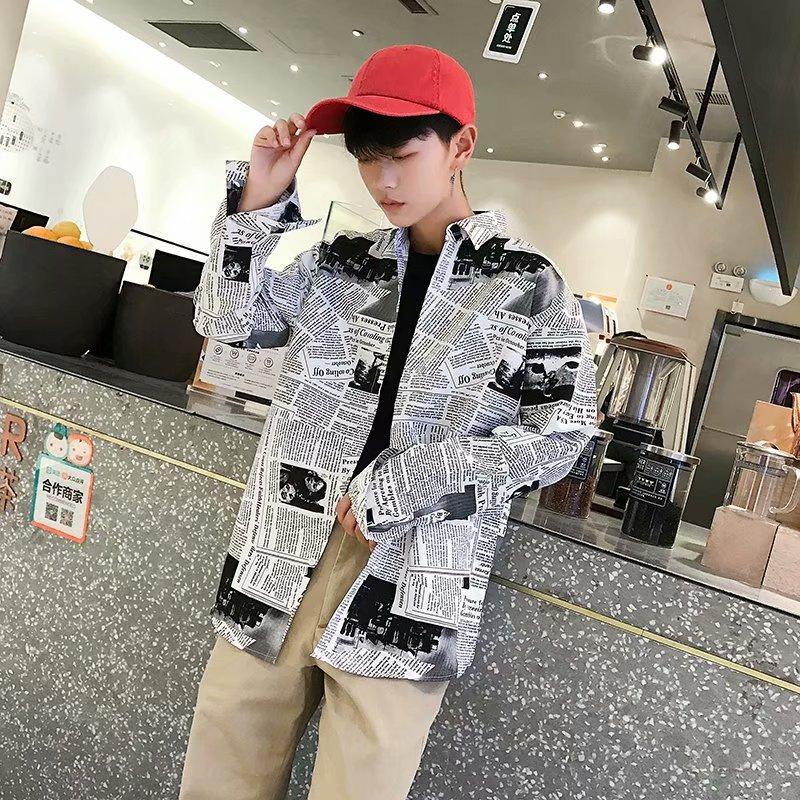 Shirts Men Turn-down Collar Plaid Simple All-match Loose Pockets Leisure Trendy Shirt Mens Ulzzang Korean Style Clothing Chic 43