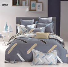 Geometric solid color bedding sets zipper duvet cover bed sheet ruffle pillowcases queen king size home textiles hot sale B6048(China)