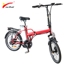Red Mini Folding Electric Bike 250W Brushless Hub  motor Wheel 20*1.75inch Foldable Electric Bicycle Road Cycling Smart Charger