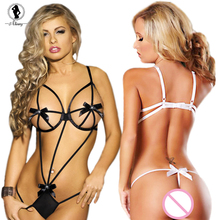 2017 new sexy lingerie hot sale black bow teddy erotic lingerie sexy costumes temptation lenceria transparent sexy underwear