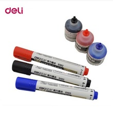 deli 3 pcs whiteboard markers and 3 pcs 12ml Filling ink  black/blue/red colors school & office stationery supplies 3sets/lot