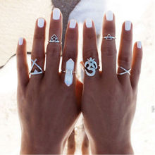 Bohemian 6pcs/Pack rammel Vintage Anti Silver Rings Arrows Moon Lucky Rings Set for Women Party Free Shipping