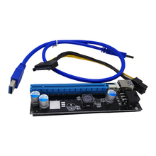 PCI Express Riser Card and PCI-E 6Pin 1x to 16x Extender with USB 3.0 Data Cable+SATA Power Supply Cable QJY99