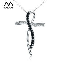 MDEAN White Gold Color Jewelry Cross Shaped AAA Zircon Jewelry for Women Fashion Wedding Necklace Pendants MSN063(China)
