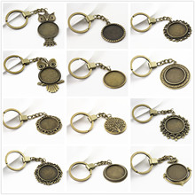 2pcs 25mm Inner Size 12 Style Antique Bronze Cameo Setting Base;Handmade Cameo Setting, Metal Key Chains Accessor(China)