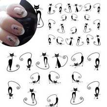 1 sheet Sexy Stray Black Cute Design Nail Art Water Transfer Stickers Decals DIY Beauty Decal Nail Decoration Tools SASTZ023(China)