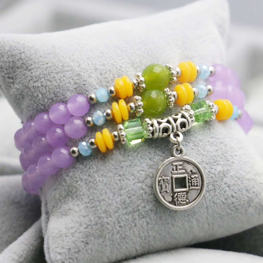 Light purple Chalcedony Lucky Crystal beads natural stones Bracelet hand chain for women girls Ladies Ancient coin Pendant(China)