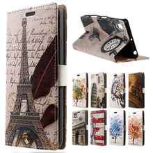 For Sony Xperia E5 Case Fashion Feather Tower Leather Wallet Flip Case Cover sFor Sony Xperia E5 Mobile Phone Bags Coque
