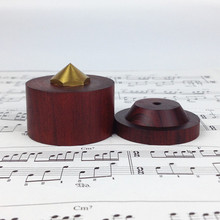 Natural Red Sandalwood Self Adhesive Speaker Spike Big Size 43mm With Copper Screw Can Adjustable Height  4 sets/lot