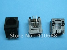 Black 6P4C With flange Top entry Modular Network PCB Jack Connector 200 Pcs per lot(China)