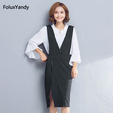 Striped Pencil Dress Women Plus Size 3 4 5 XL 2 Pieces Sleeveless Tank Office Lady Dress Vestidos QF133-Q9132(China)