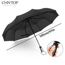 CHN-TOP Big Wind Quality Resistant Umbrella Rain Women Automatic 10Rib Luxury Wide Windproof Golf Business Men For Car Umbrella