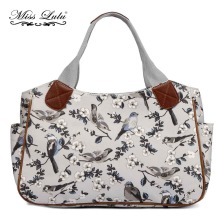 MISS LULU Women Shopper Handbag Top-handle Bags Gray Bird Flower Print Shoulder Bags Tote Market Hand Bag YD1105