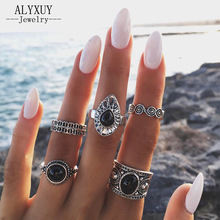 New vintage jewelry metal with antique silver color finger ring set gift for women girl R5007