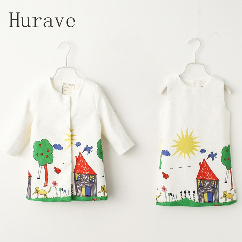 Hurave Sun Pattern Clothing Sets Formal Kids Clothes Cute Girls Dress Sets Children Autumn Clothing Suits Coat+Sundress For Girl<br>