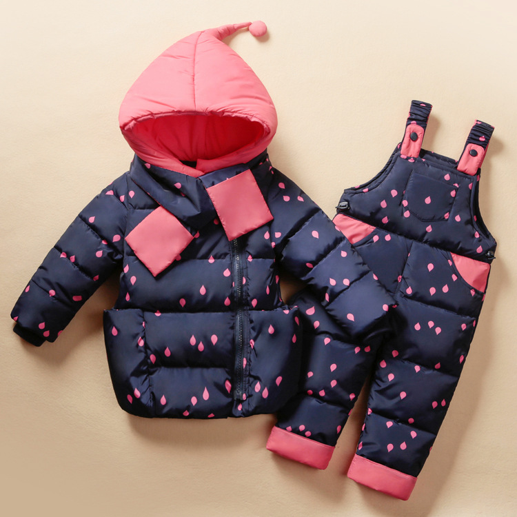 Baby Girls Winter Clothing Duck Down Hooded Coat + Overall + Scarf Windproof Toddler Costume FYÎäåæäà è àêñåññóàðû<br><br>
