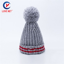 26*23cm fashionable jacquard warm knitted hats for unisex normal thick line cap with fur ball pompon head caps DS20170144 x109