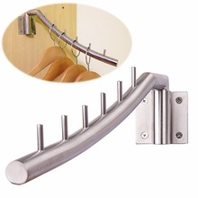 Active Clothes Hanger Hook Wall Mount Swing Arm Stainless Steel Coat Clothing Drying Holder Rack Hanger 6 Pegs(China)