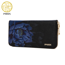 Pmsix 2017 New Flower Print Chinese Wind Cattle Split Leather Wallet Purse Zip Large Capacity Long Ladies Vintage Clutch Wallet
