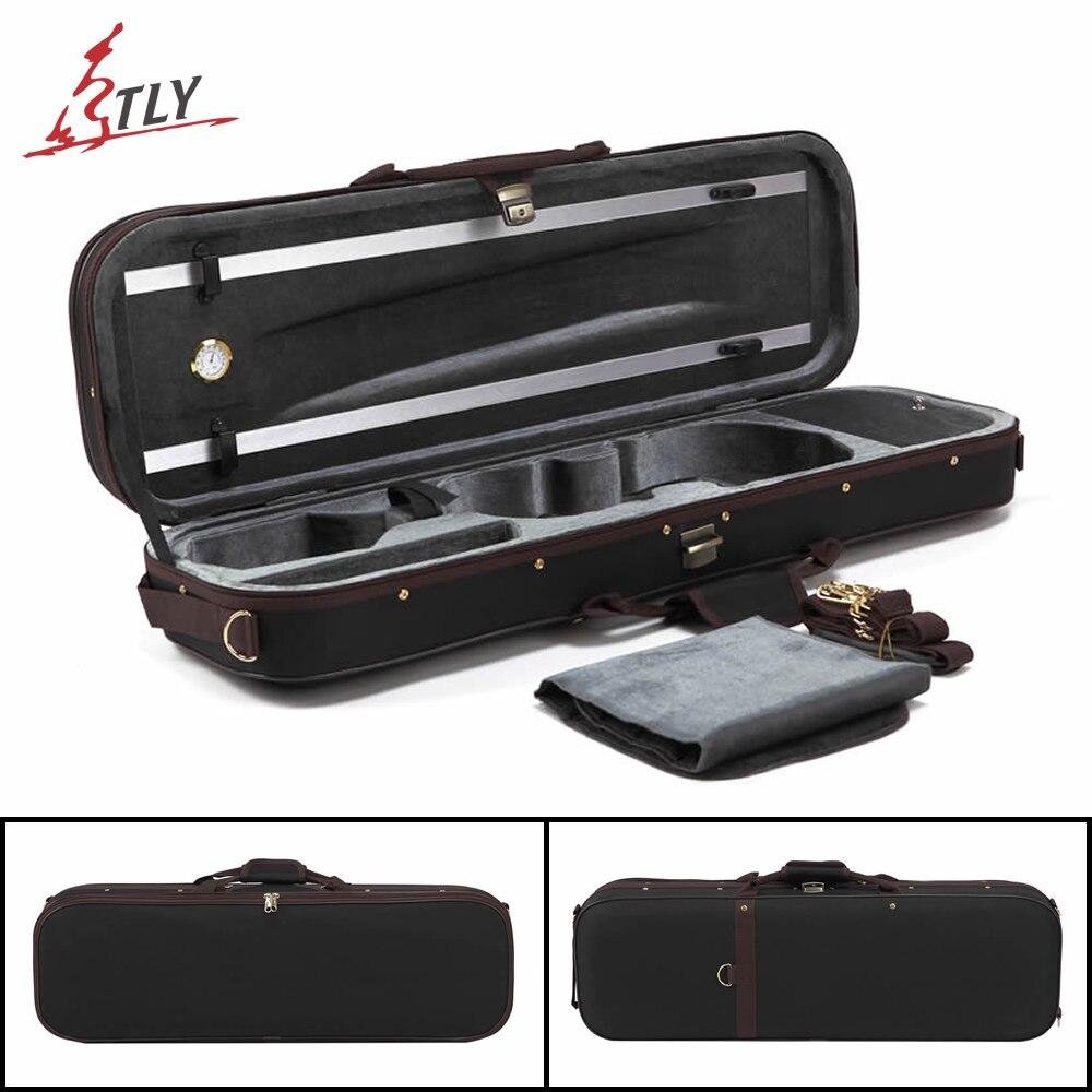 TONGLING High-end Pleuche Rectangle Violin Case 4/4 w/ Hygrometer Black Oxford Violino Case<br>