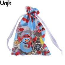 Urijk 10 Pcs/Set Gift Holder Large Christmas Snowman Gift Bag Organza Bag Christmas Decoration New Year Gifts 18.5x13cm