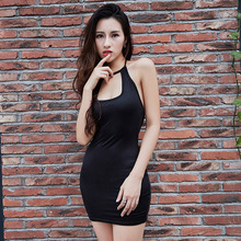 Classic Women Party Halter Dress Low Cut Sexy Night Club Dresses Off Shoulder Bodycon Dress Black Bandage Mini Dress Vestidos(China)