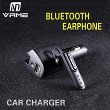 Wireless Bluetooth Headset In-ear Earphone with Car Charger Powered Usb Car Charger Headphone Earphone Car Adapter Charger