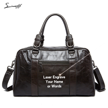 Laser engraved Name or Words Large Genuine Leather Bags for Trips Men's Gift Leather Luggage Handbag Crossbody Trevel Tote Bag(China)