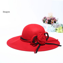 European Red Flower Wool Hat For Women Big Brim Dome Fedora Hat Fashion Ladies WInter Autumn Top Hat Mujeres Sombrero(China)