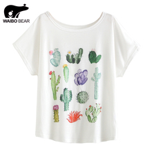 New 2017 Summer Women Desert Cactus Print T Shirts Cute Casual Short Sleeve Girl T-Shirts O Neck Graphic Tops Tees WAIBO BEAR(China)