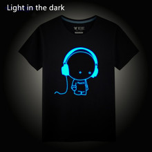 Height 100-185CM 3D boy T-Shirt Luminous 100% Cotton Tee Shirt Summer Children Kids Hip Hop Print Party Club Night Light Top