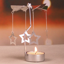 Newest Rotary Spinning Tea Light Candle Holder Christmas Home Decor Metal Candlestick Candle Stand High quality(China)