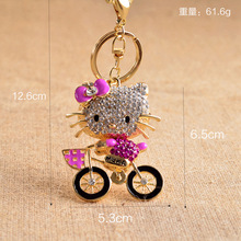 Zinc Alloy Cheap Cartoon Hello Kitty Charm Creative Gift Rhinestone Metal Keychain woman,Fashion Bag Pendant Key  Chain Jewelry