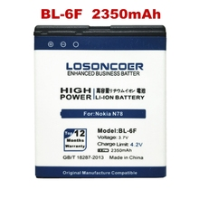 2350mAh LOSONCOER BL-6F battery For Nokia N78 N79 6788 6788I N95 8G free shipping + track number(China)