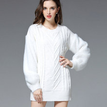 Women Warm Knitted Dresses High Quality Long Sleeve High Quality Solid Black White Loose Basic Mini Woman Winter Sweater Dresses(Hong Kong)