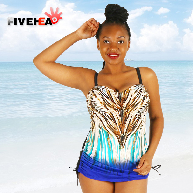 MAMAMIA women big size swimsuit one piece colorful flashy strapy tuck-up ruched conservative skirt large plus size swimwear<br>