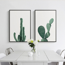 Nordic Watercolor Green Cactus Plant Poster Print Floral Wall Art Pictures Modern Home Decor Canvas Painting No Frame Gift(China)