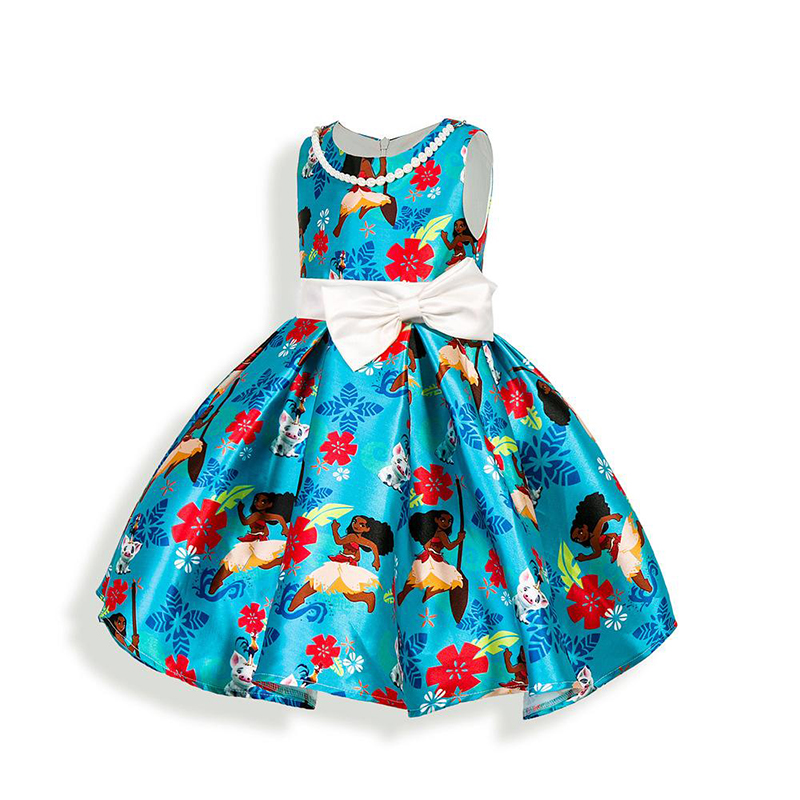 Summer 2017 Kids Girls Dress Floral Printing Bowknot Toddler Sleeveless Teenage Childrens Clothing Kids Clothes for Party Girls<br>