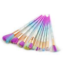 10pcs Symphony Diamond Scrub Brushes Set Smooth Rainbow Hair Eyeshadow Powder Foundation Eye Sha Cosmetic Blush Makeup Art Tools(China)