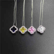 2017 New Pink Blue CZ Pendant Clover Necklaces Austria Crystal Necklace For Women Jewelry Fashion