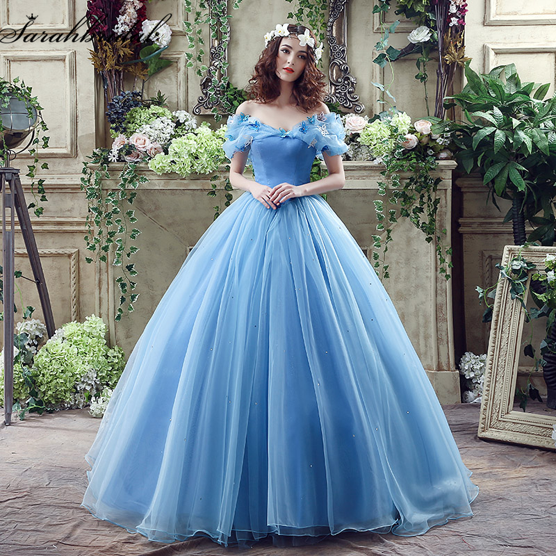 Blue Organza Off the Shoulder Ball Gown Wedding Dresses Crystal Beaded Appliques Pleated vestido de noiva Prom Gowns SQS037