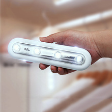 Bright 4 LED Closets Night Light 180 Degrees Rotated With 2 Self-adhesive Sticky Tapes Power By 3 * AAA Battery LED Light