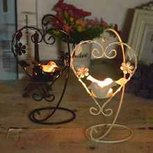 Heart Shape Candlesticks  Vintage Candle Holder Birdcage Lantern Continental Iron Candle Holders Wedding Home Decor Candlestick