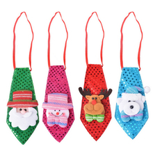 1PC Christmas Tie Sequins Santa Claus Snowman Reindeer Bear Christmas Decoration Xmas Ornaments